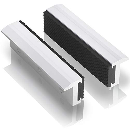 "TRISENSE Vise Jaw Covers,Aluminum Multipurpose 4""Soft Vice Inserts-Use On Any Drill Press Vise As Accessories,White Vise Jaws Pads(2 Pack in 1)"