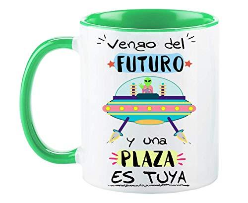 FUNNY CUP Taza Opositor. Vengo del Futuro y una Plaza es Tuya. Taza de oposiciones para Regalo al Estudiante. Taza Color (Verde)