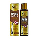 MB Herbals Red Onion Hair Oil 200ml (6.76 fl.oz ) with Black Seed, Wheatgerm, Hibiscus, Curry Leaf Oils & Vitamin E | Repairs & Strengthens Damaged Hair | Promotes Hair Growth | Adds Volume to Hair