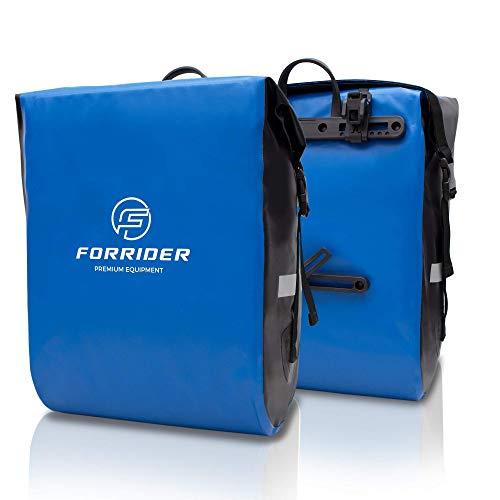 Forrider Fahrradtaschen für Gepäckträger - 100% Wasserdicht [2 Stück] 50L Volumen Premium Fahrrad Gepäckträgertaschen hinten Pack-Taschen Hinterradtaschen (Blau)