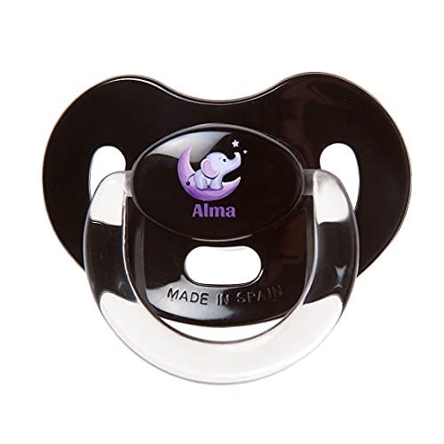Boann - Chupete personalizado con nombre a color Elefante Luna (Negro Premium, Silicona 0-6 meses)