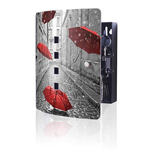 banjado Design Schlüsselkasten aus Edelstahl | 10 Haken für Schlüssel | praktischer Magnetverschluss | 24x21,5cm Motiv Rote Schirme
