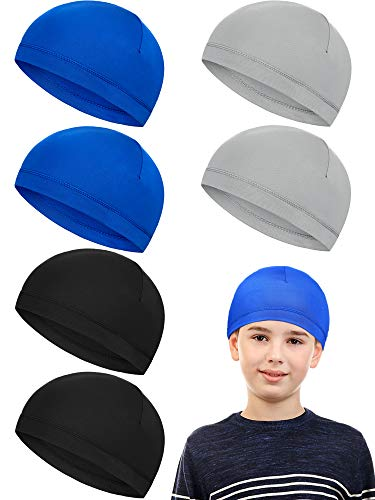 6 Pieces Child Sweat Wicking Cap Running Hats Skull Cap Milk Silk Cycling Helmet Liner for Boy and Girl Running Jogging Exercise (Grey, Dark Blue, Black)