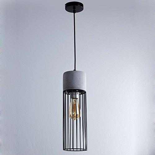 Pendentif rétro moderne Cement Metal Lantern plafond décoration Suspension E27 Edison ampoule 40W Max éclairage intérieur