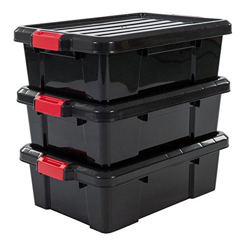 Iris Ohyama, Juego de 3 Cajas de Almacenamiento para Bricolaje, 25 L, con Cierre a Presión, Apilable, Garaje - Power Box Sk-230 - Negro