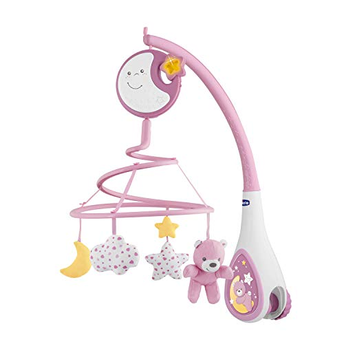 Chicco Next2Dreams Mobile pour Lit Bébé avec Lumières et Musique 3 en 1 - Compatible avec le Berceau Next2Me, avec Effets Sonores, Projecteur de Lumière Nocturne Douce et Musique - 0 Mois et +, Rose
