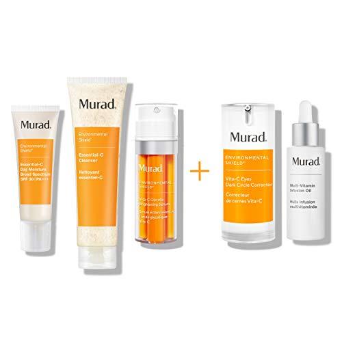 Murad 90 Day Rapid Brightening Kit - Vita-C Glycolic Serum, Essential C Day Moisture SPF 30, Travel Essential C Cleanser, Multi Vitamin Infusion Oil and Vita C Eyes Dark Circle Corrector ($340 Value)