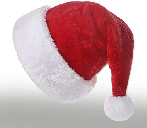 InnLife Innlife Christmas Santa Hat for Adults, Traditional Red and White Plush Velvet Party Hat with Liner