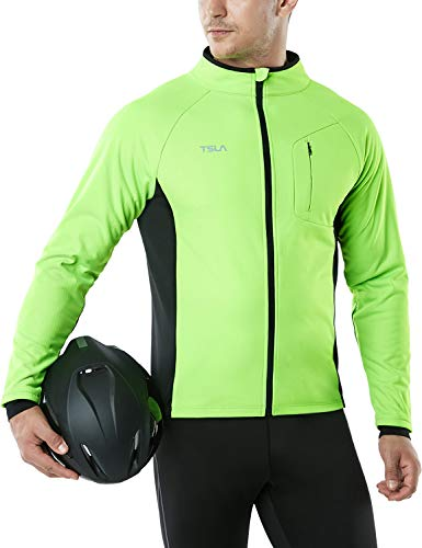 TSLA Men's Cycling Winter Thermal Windproof Breathable Running Softshell Jacket, Active Cycling Windproof(ycj70) - Neon Green, Large