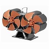 XIANGE100-SHOP Ventiladores para chimeneas Ventilador de Chimenea Doble Cabeza 10 Cuchillas Estufa eléctrica de Calor...
