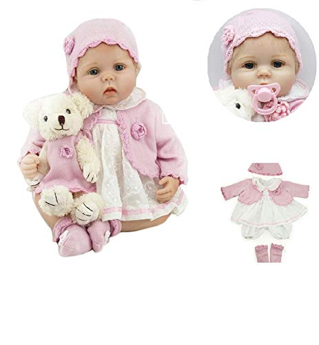 Pinky Reborn 22 Inch 55cm Realistic Reborn Baby Dolls Look Real Girl Soft Silicone Vinyl Reborn Toddler Baby Doll Realistic Real Lifelike Looking Newborn Dolls Baby Girl Toy Best Xmas Gift