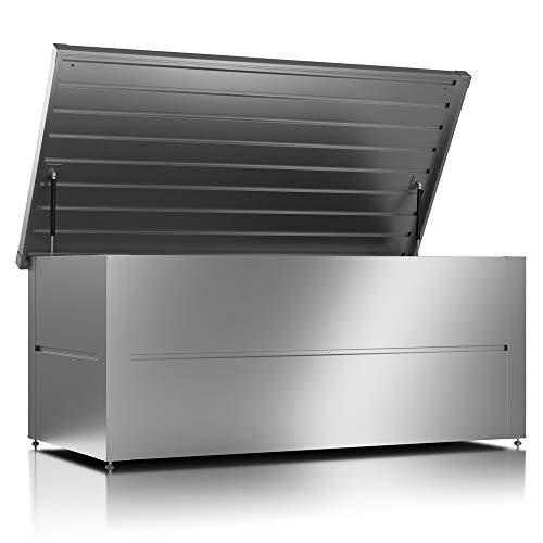 ILESTO Aufbewahrungsbox aus Stahl, Ben (692L): Auflagenbox wasserdicht XL | Kissenbox für Ihren Garten 165x85x69cm | Stauraum für den Außenbereich | Silber Metallic