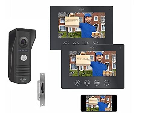 Videoportero IP WiFi con 1 casa familiar con 2 monitores interiores de 7 pulgadas y abridor de puerta, 4 cables exteriores con cámara.