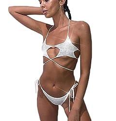 Star Bra Diamond Sequin Thong Two Piece Bikini Sets
