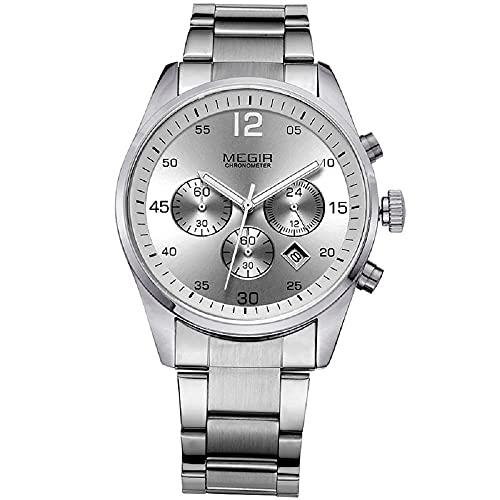 Reloj de pulsera militar de acero inoxidable de los hombres del cronógrafo de la manera de los relojes, plata,