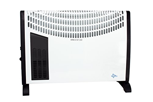Suntec Heat Flow 2020 verwarmingsconvector, voor ruimtes tot 60 m3 (~25 m2), 3 warmtestanden, regelbare thermostaat, turboverwarmingsventilator, vrijstaand/wandmontage, 2000 watt