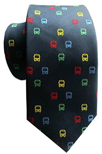 magdalena r. Bus Seidenkrawatte dunkelblau + Blaue rote gelbe grüne Busse v inkl. Geschenkhülle 3K