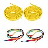 2 Pairs Roller Inline Skate Shoelaces Skates Strings Shoe Laces 180cm - Amarillo, 180 x 1 cm