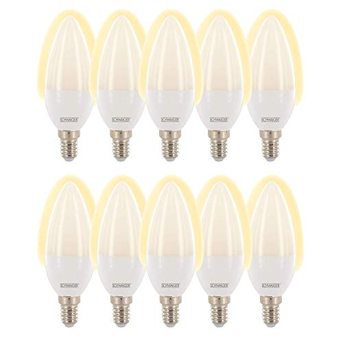 SCHWAIGER -716252-10x LED Lampe E14 dimmbar -smarte LED- Glühbirne warmweiß Lichtsystem/Leuchtmittel