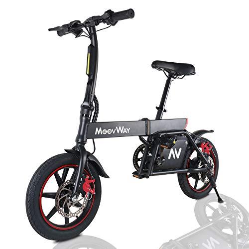 """Windgoo Bicicleta Eléctrica Plegables, 350W Motor Bicicleta Plegable 25 km/h y 25 km, Bici Electricas Adulto con Ruedas de 14"""", Batería 36V 6.0Ah, Asiento Ajustable, con Pedales (Noir)"""