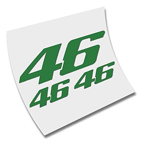 3 X Pegatina Sticker 46 Rossi AUTOCOLLANT AUFKLEBER Color Elegir Vinilo Vinyl (Verde Cesped)
