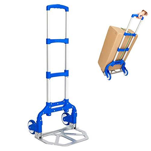 Carretillas Plegables Aluminio 80 kg, 64 x 38 x 5 cm, Carretilla de Transporte Mudanza, Carretillas de Mano Carga Ligero y Robusto, Carretillas Plegables 2 Ruedas con 2 Cuerdas Elásticas, Azul