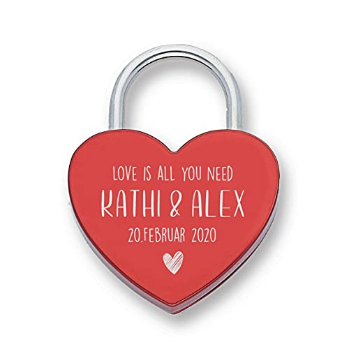 Liebesschloss Herz rot mit Wunsch-Gravur die Geschenkidee zur Verlobung Hochzeit oder Geburtstag