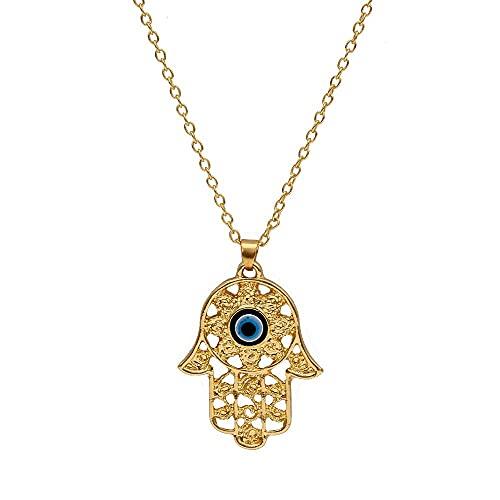 ERZHUI Collar de Oro de la Mano de Fátima, Collar de Cadena, Collar de Cuentas de Mal de Ojo