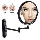 Miroir de maquillage, miroirs de vanité de salle de bains montés au mur en laiton grossissant à double face noir pivotant à 360 ° rasage de maquillage extensible réglable (Color : 10x)