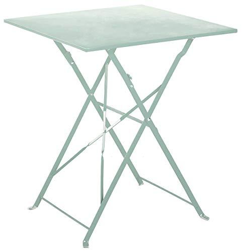 PEGANE Table de Jardin Pliante en Acier Coloris Mint - Dim : 60 x 60 x 70cm