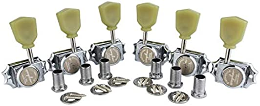 Guyker 6Pcs Guitar Locking String Tuning Pegs (3R + 3L) – 1:15 Vintage Deluxe Style Tuners Key Machine Heads Set with Keystone Knob Replacement for Les Paul Style Electric or Acoustic Guitar - Chrome