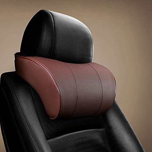 MPOQZI Auto Kopfstütze Nackenkissen Set Leder Auto Sitzauflage Lendenschutz Schwarz Sitz Taille Unterstützt Kissen Memory Foam