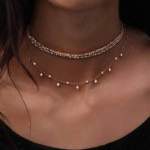 Jovono Fashion Multi – Collar de capa con estrella de diamantes de imitación para mujeres y niñas