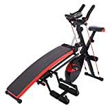 Combination Fitness Machine Indoor Exercise Bike, Adjustable Bench Press for Abs Exercise, Full-Body Workout, Abdominal Trainers Push Ups Workout Beauty Waist Sit-up Exerciser for Home Gym (Black)
