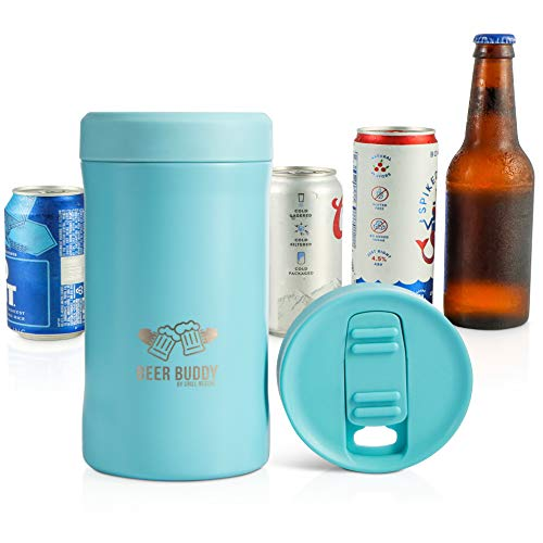 Beer Buddy Insulated Can Holder – Vacuum-Sealed Stainless Steel – Beer Bottle Insulator for Cold Beverages – Thermos Beer Cooler Suited for Any Size Drink - One Size Fits All (Matte Turquoise)