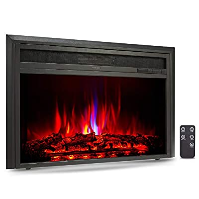 CO-Z 32 Inch Embedded Space Heater, Recessed Electric Fireplace Insert with 750/1500W Heating Modes, 6 Flame Effects, Remote Control and Thermostat for TV Stands Mantels for Living Room & More, Black