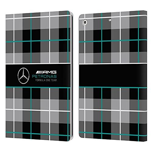 Head Case Designs Funda de piel tipo libro con logotipo de Mercedes-AMG Petronas F1 Team Plaid compatible con Apple iPad 9.7 2017 / iPad 9.7 2018