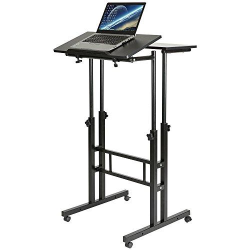 DOEWORKS Mobile Stand Up Desk Height Adjustable Computer Work Station Home Office Desk with Wheels,Black