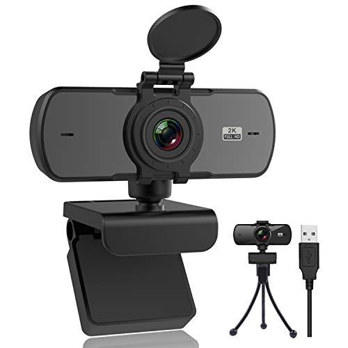 Webcam 2K avec Microphone et Couvercle de...