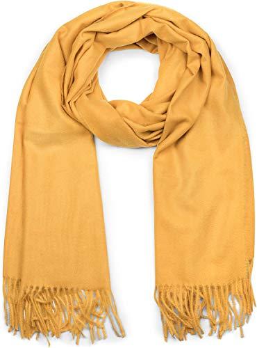 styleBREAKER Unisex weicher uni Schal mit Fransen, Winter, Stola, Tuch 01017104, Farbe:Curry