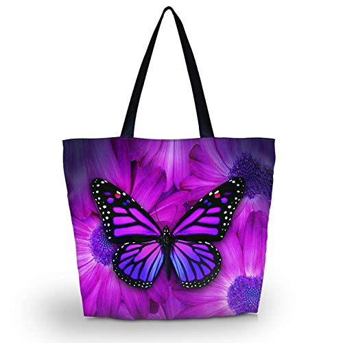Beach Bag–Toy Tote Bag–Large Lightweight Market,Grocery & Picnic Tote with Eco Reusable Eco-Friendly Shopping Bag Handle Case Bag School Shopping Large Grocery Shoulder bag (Purple Big Butterfly)
