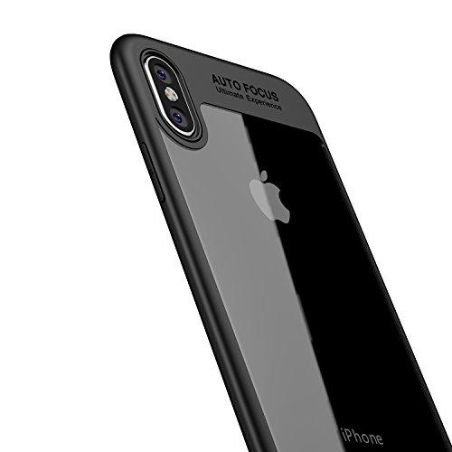 LAYJOY Funda iPhone X, Funda iPhone XS, Carcasa Ligera Bumper Silicona Suave Negro TPU y Transparente Duro PC Case Anti-Arañazos, Anti-Golpes Caso Cover para iPhone X/XS (5.8 Pulgadas)