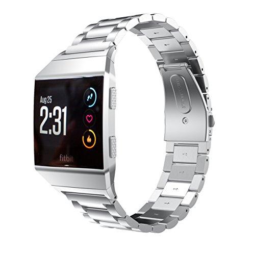 Aresh Kompatibel mit Fitbit Ionic Armband, Metall Solide Edelstahl Ersatzarmband mit Link Removal Kit Kompatibel mit Fitbit Ionic Smartwatch(Silber)