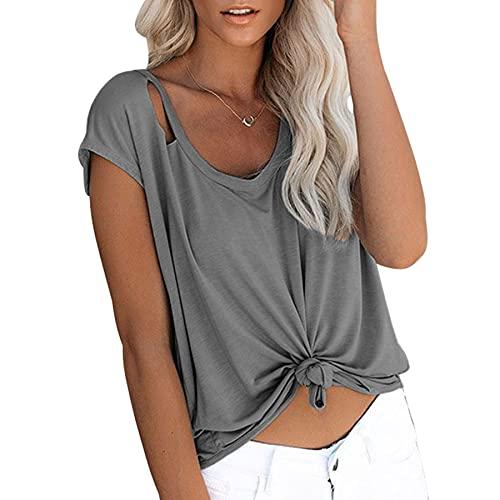 WXDSNH Camiseta De Manga Corta para Mujer Agujero Color Sólido Camiseta De Mujer Cuello Redondo De Verano