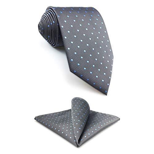 shlax&wing Tie Conjunto de Gris Azul Puntos Krawatte Herren Seide 147cm y Einstecktücher