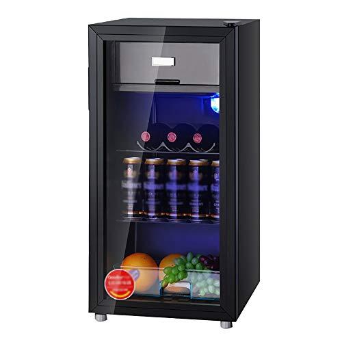 Thekenkühlschrank Schwarz |112L Bar Wein- Und Getränkekühlschrank |Glastürkühlung Weinschrank |LED Leuchtet |Geringer Energieverbrauch Geräuscharm