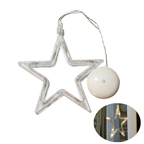 LEDMOMO julbelysning – femspetsig stjärna hängande fönsterlampa med sugkopp och batteridriven för juldekoration (varmt vitt ljus)