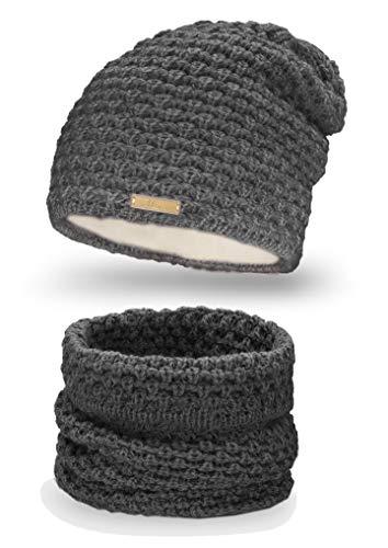 Mikos* Winter Kombi Set aus Winter Schal und passender Strickmütze/Beanie (690) (Grafite)