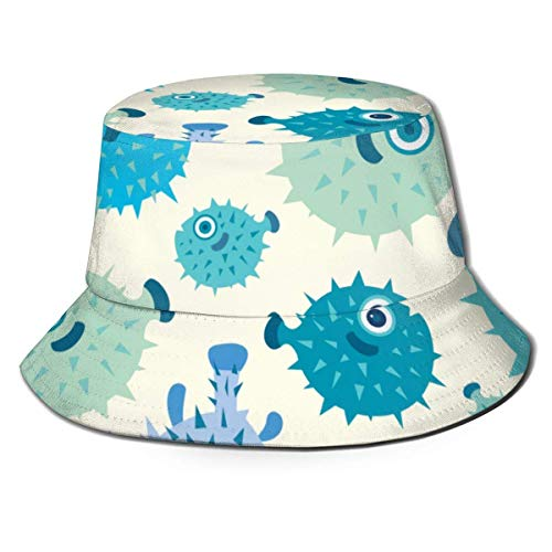 Henry Anthony Puffer Blue Fish Packable Sombrero de Sol con Cubo de...