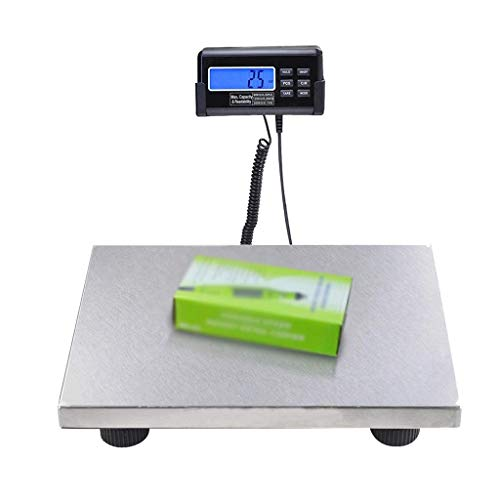 lqgpsx Digital Parcel Scales, Postal Scales 3 Precision Platform Scale Stainless Steel Platform Luggage Scales with Back-Lit LCD Display (Silver) (Color : Silver)